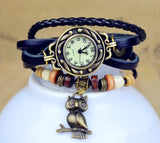 Owl Leather Bracelet Watch