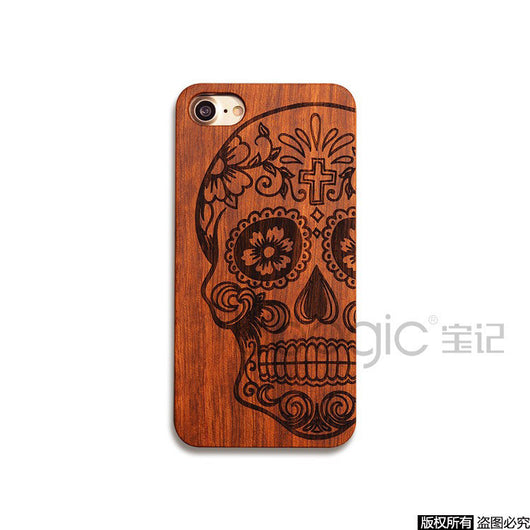 Luxury Handmade Carving Pattern Wood Case for iPhone 7 - Womans Clothing