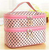 Fashion Double layer small dots cosmetic bag