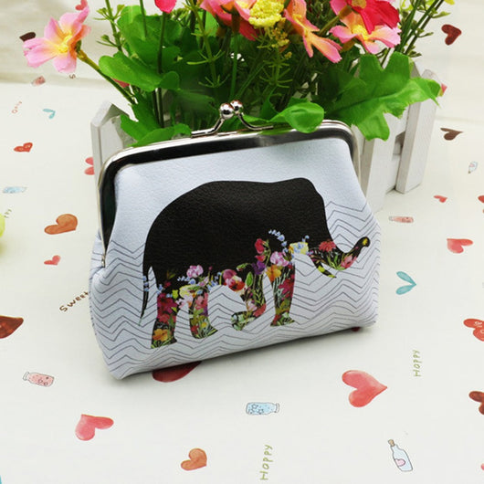 Women Coin Change Purse Elephant Printing, - Womans Clothing