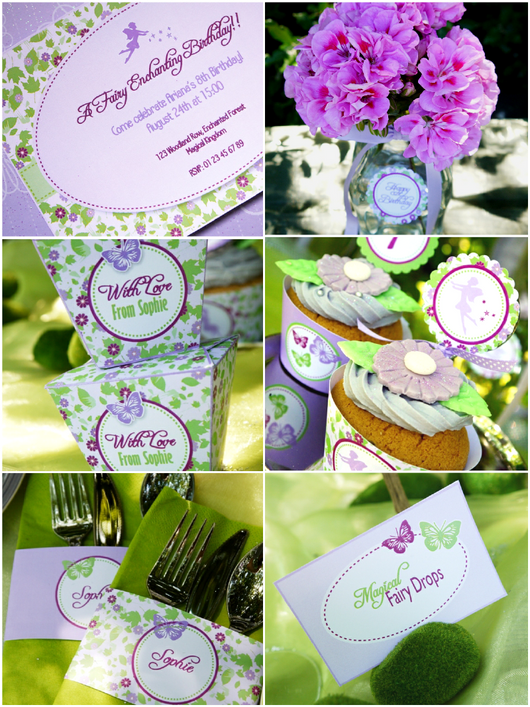 Pixie fairy lilac and green birthday party printables supplies shop