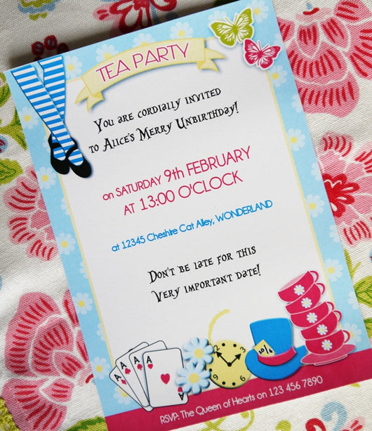 picture relating to Tea Party Printable named Alice Tea Birthday Bash Printable Invites