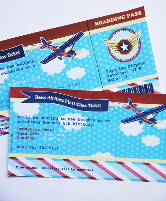 Little Aviator Airplane Birthday Party Printable Invitations