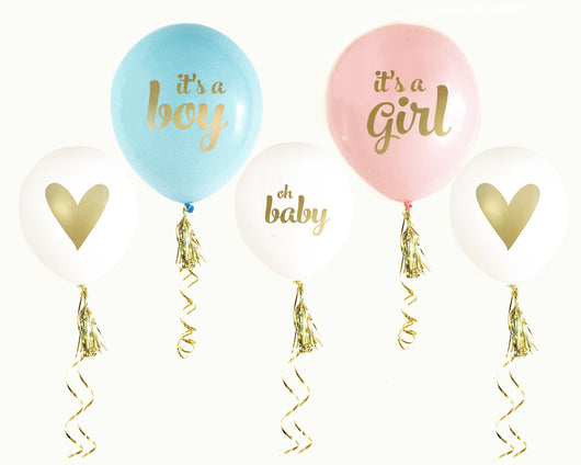 Baby Shower Party Balloon Pink Or Blue With Gold Text