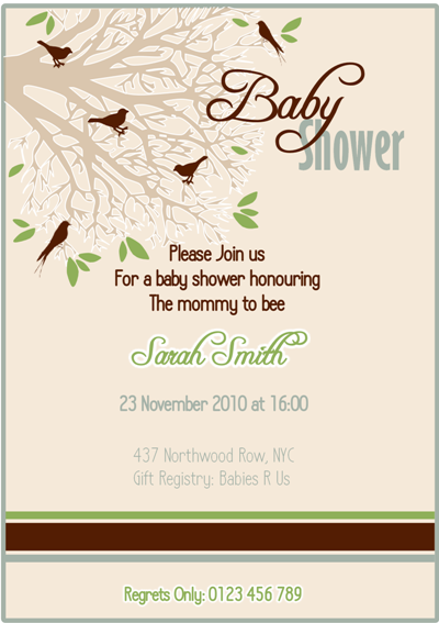 Tweet Nesting Bird Baby Shower Party Printable Invitations | BirdsParty.com
