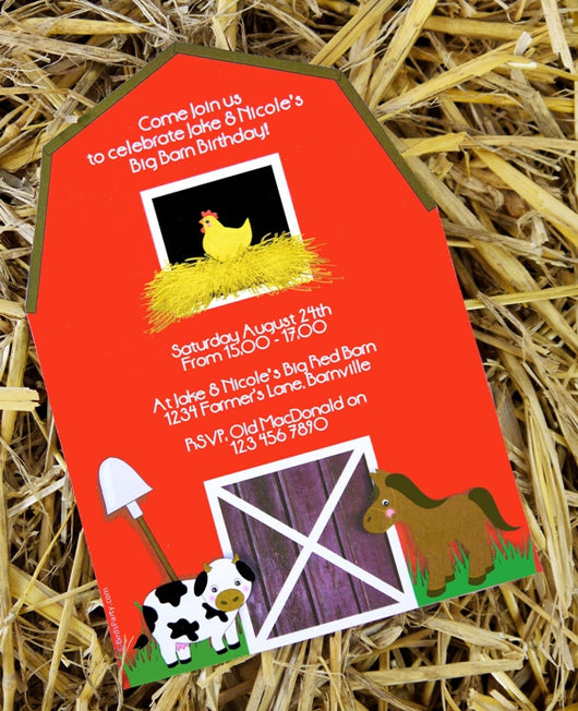 Barnyard Carnival Birthday Party Printable Invitations | BirdsParty.com