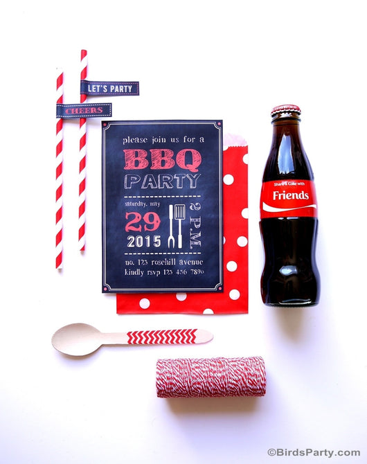 BBQ Chalkboard Style Party Printables Supplies