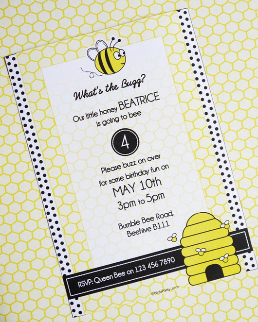 Honey Bee Birthday Party Printable Invitations | BirdsParty.com