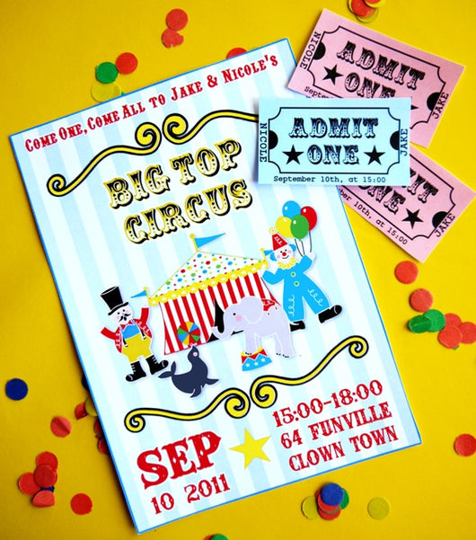 Circus Carnival Birthday Party Printable Invitations | BirdsParty.com