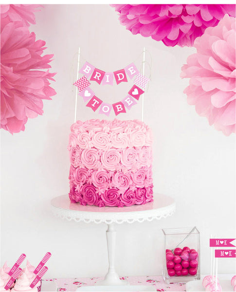 Bride To Be Mini Cake Bunting Party Printables - Various Colors | BirdsParty.com