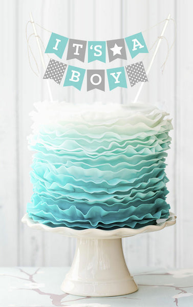 Mini Cake Bunting Boy Baby Shower Party Printables | BirdsParty.com
