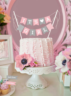 Mini Cake Bunting Girl Baby Shower Party Printables | BirdsParty.com