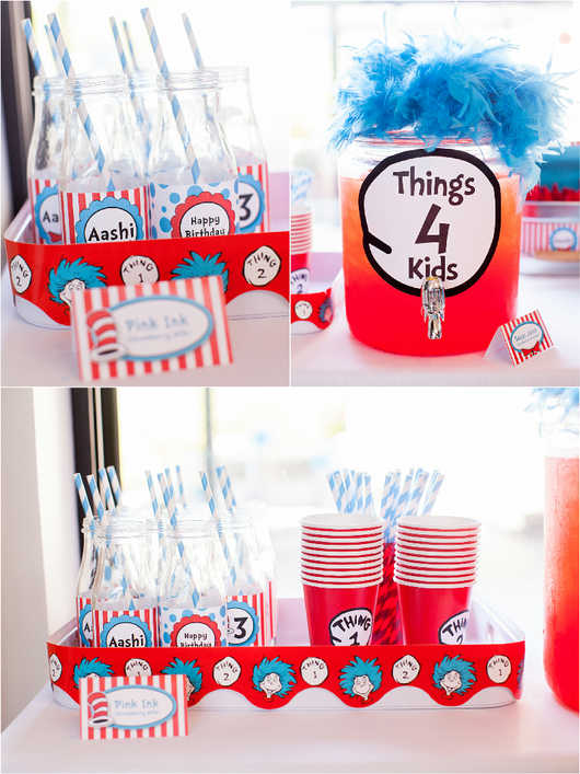 Cat Hat Birthday Party Printables Supplies Decorations
