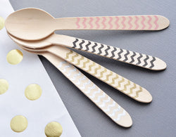Chevron Wooden Party Spoons - Various Colors | BirdsParty.com