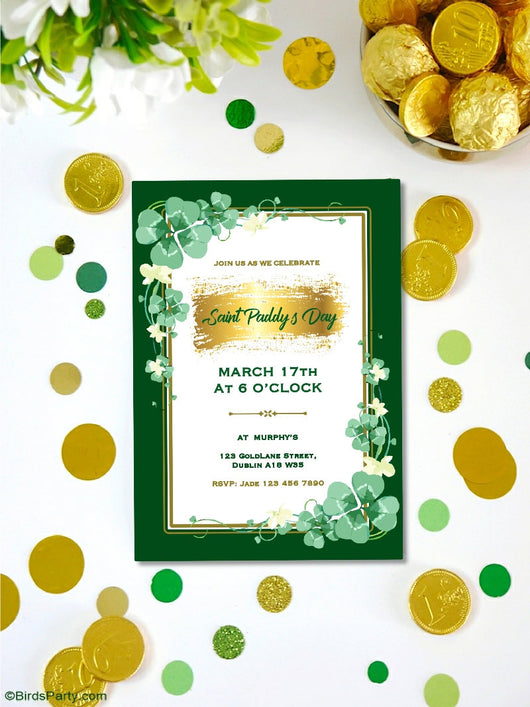Saint Patrick's Day Party Party Printables Invitations | BirdsParty.com