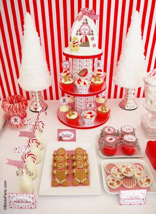 Christmas Candyland Party Printables Supplies & Decorations Kit with Invitations | BirdsParty.com
