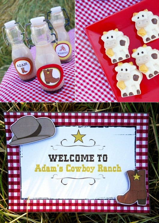 Cowboy birthday party printables supplies shop