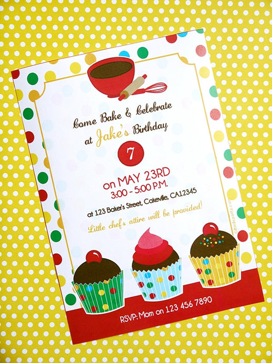 Baking Birthday Party Printable Invitations | BirdsParty.com