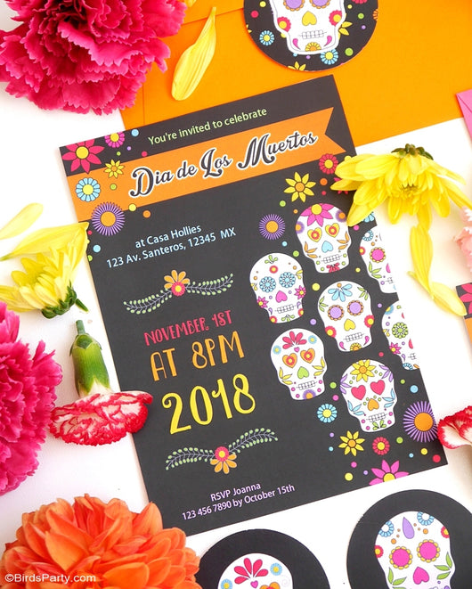 Day of The Dead Dia de Los Muertos Party Printable Invitations | BirdsParty.com