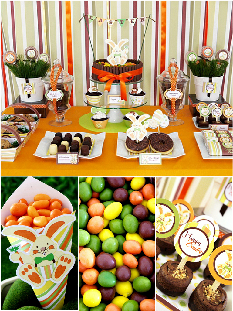 Easter Bunny Orange Party Printables Supplies Birdsparty Com