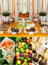 Easter Bunny Orange Party Printables Supplies & Decorations Kit with Invitations | BirdsParty.com