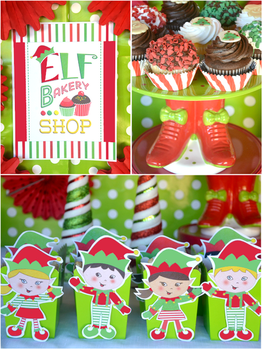 elf holiday cookie decorating party printables supplies decorations kit birdspartycom