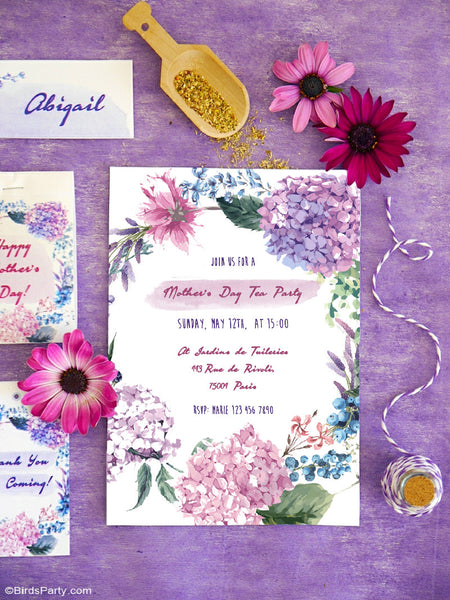 Floral Lavender Party Printable Invitations | BirdsParty.com