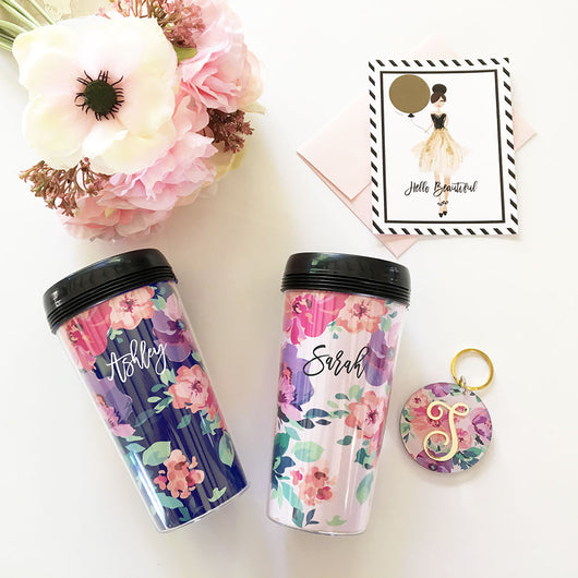 Personalized Floral Travel Coffee Mugs | BirdsParty.com