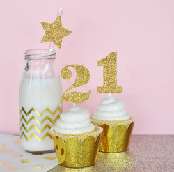 Glitter Birthday Party Stickers Numbers (Set of 24) | BirdsParty.com