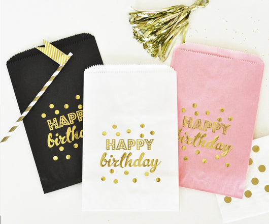 Gold Foil Text & Dots Goodie Bags (Set of 12) | BirdsParty.com