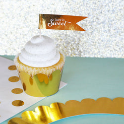 Metallic Gold or Silver Foil Cupcake Wrappers (Set of 12) | BirdsParty.com