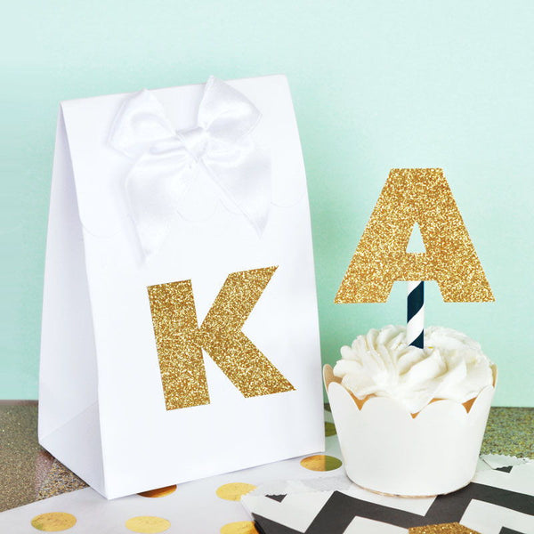 Gold Glitter Monogram Stickers (Set of 24) | BirdsParty.com