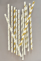 Paper Party Straws in Metallic Foil Dots, Stars or Stripes | BirdsParty.com
