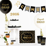 Graduation Party Balloons with Gold Text - Various Colors | BirdsParty.com