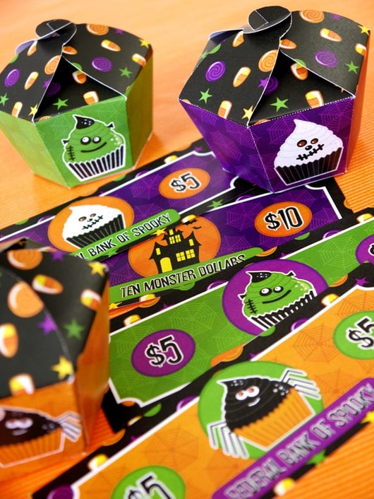 Halloween Monster Cupcakes Party Printables Supplies & Decorations Kit with Invitations | BirdsParty.com