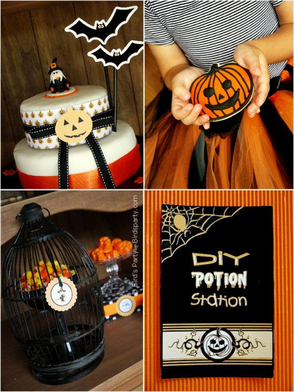 Halloween Spooky Black and Orange party printables supplies decorations shop