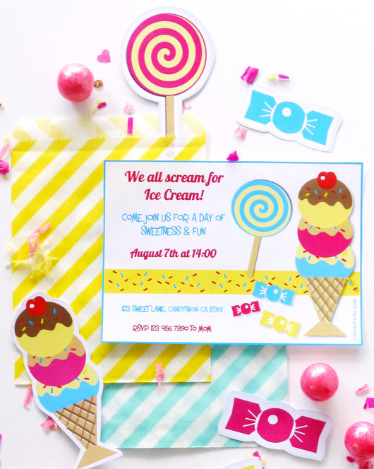 Ice Cream Social Birthday Party Printable Invitations | BirdsParty.com