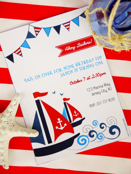 Nautical Birthday Party Printable Invitations | BirdsParty.com