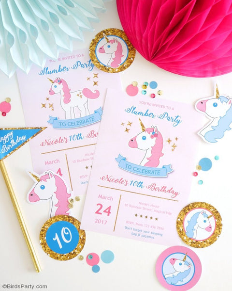 Unicorn Birthday Party Printable Invitations | BirdsParty.com