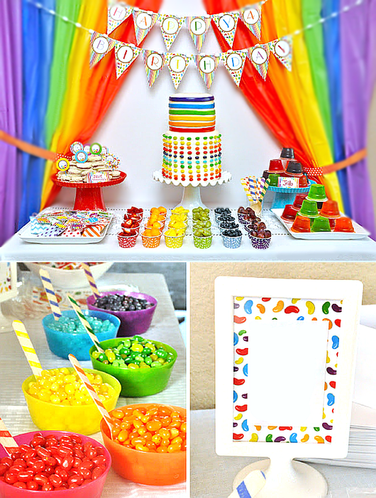 Rainbow  Birthday Party Printables Supplies and Decorations