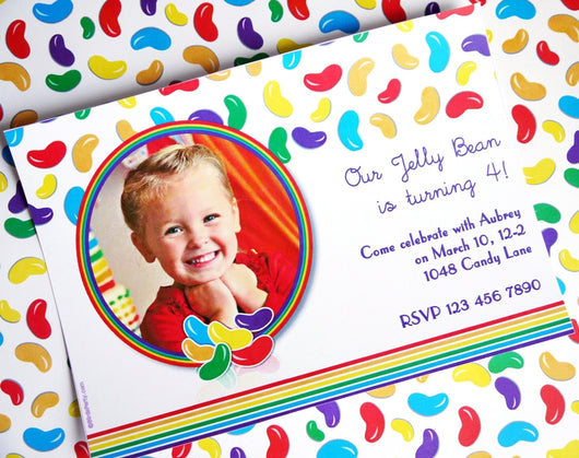 Jelly Beans Birthday Party Printable Invitations | BirdsParty.com