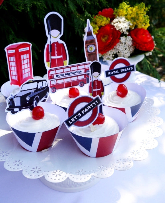 UK London Inspired birthday party printables supplies shop