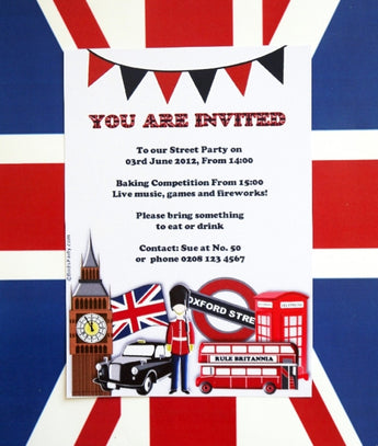 British UK London Birthday Party Printable Invitations | BirdsParty.com