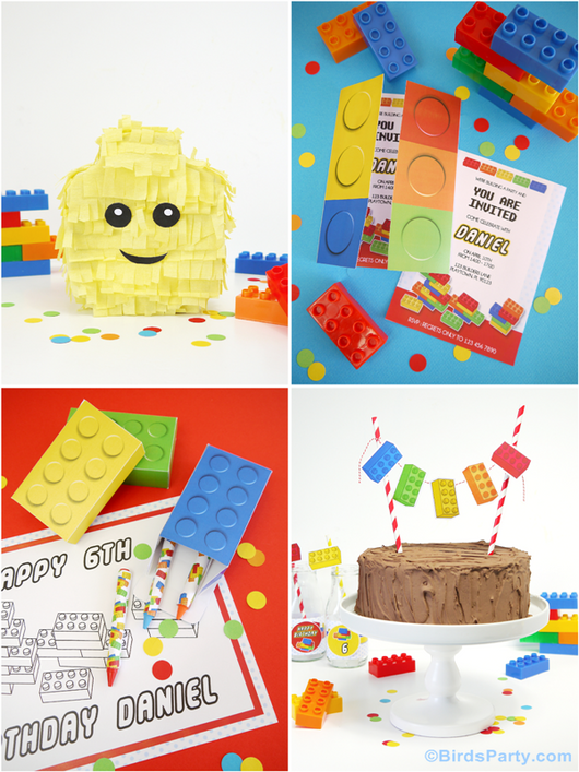 Building Blocks Inspired Birthday Party Printables Supplies