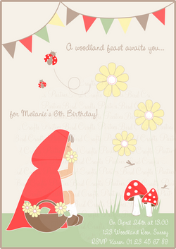 Little Red Riding Hood Birthday Party Printable Invitations | BirdsParty.com