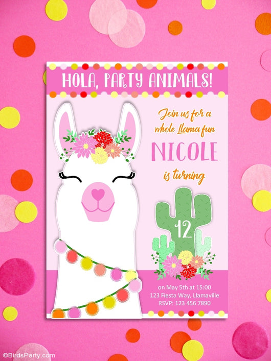 Llama Fiesta Birthday Party Printable Invitations | BirdsParty.com