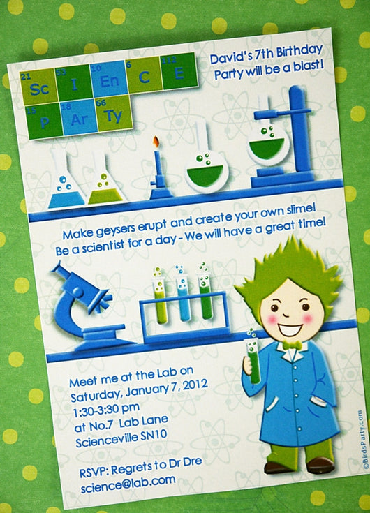 Mad Scientist Birthday Party Printable Invitations | BirdsParty.com
