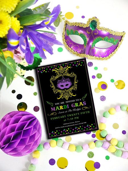 Mardi Gras Carnaval Party Printables Invitations | BirdsParty.com