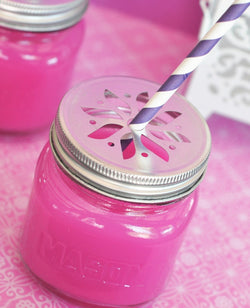 Mason Jar Drinking Glasses with Flower Cut Lids | BirdsParty.com