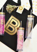 Metallic Gold Monogram Tumblers | BirdsParty.com